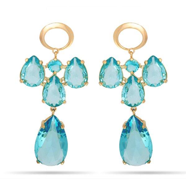 Brinco Longo Semijoia Banho de Ouro 18k Cristal Azul Safira 4 Gotas