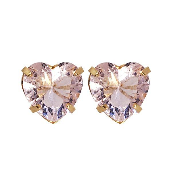Brinco Coração Banho de Ouro 18k Cristal Rosa
