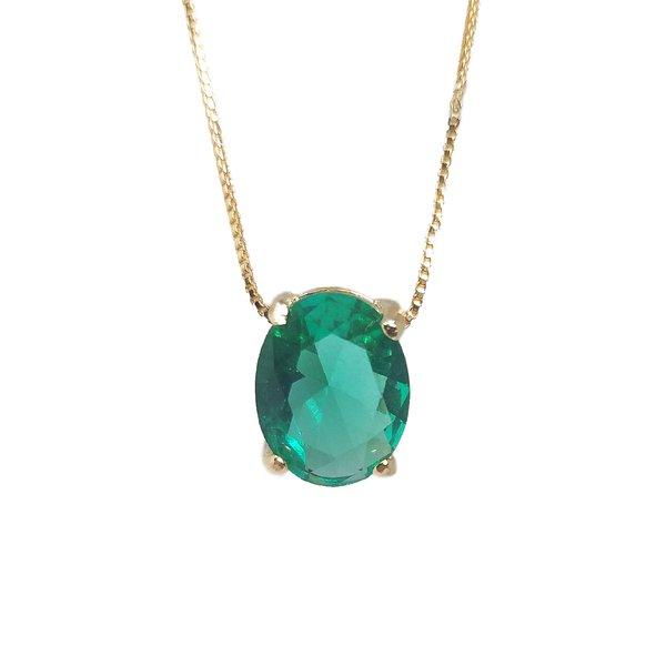 Pingente Oval Banho de Ouro 18k Cristal Verde Esmeralda com Corrente Veneziana