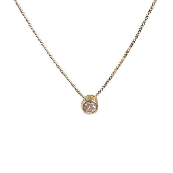Pingente Ponto de luz Pequeno Banho de Ouro 18k Cristal com Corrente Veneziana