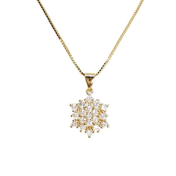 Pingente Flor Banho de Ouro 18k Cristal com Corrente Veneziana