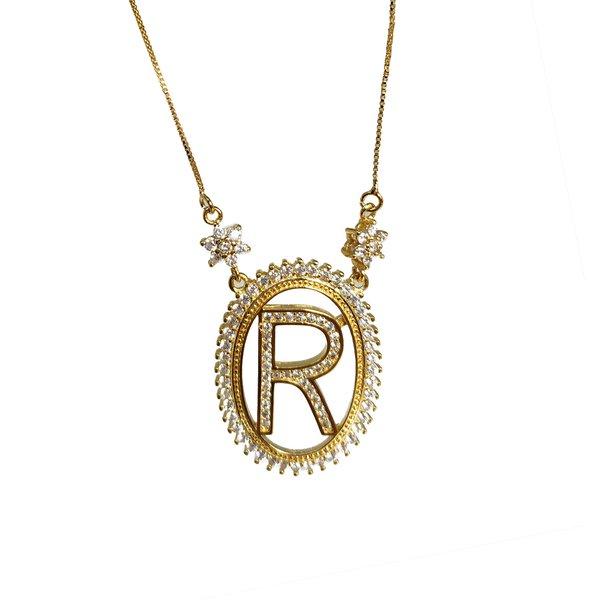 """Pingente Letra """"R""""tipo Mandala Banho de Ouro 18k Zircônia com Corrente Veneziana"""