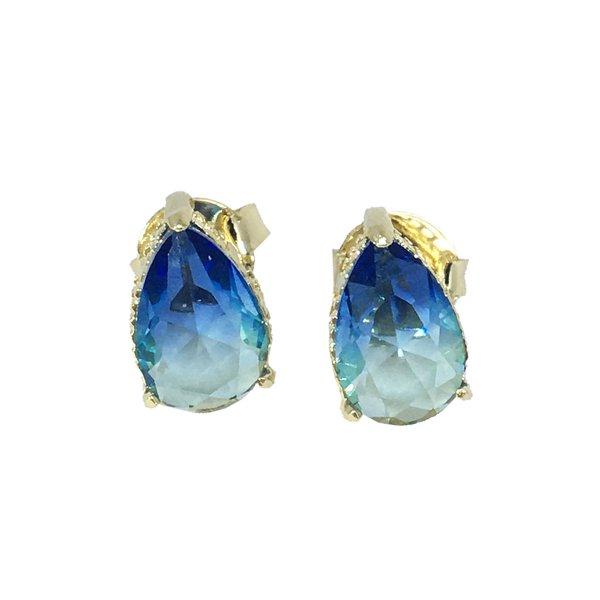 Brinco Gota Rainbow Semijoia Banho de Ouro 18k Cristal Azul Duo