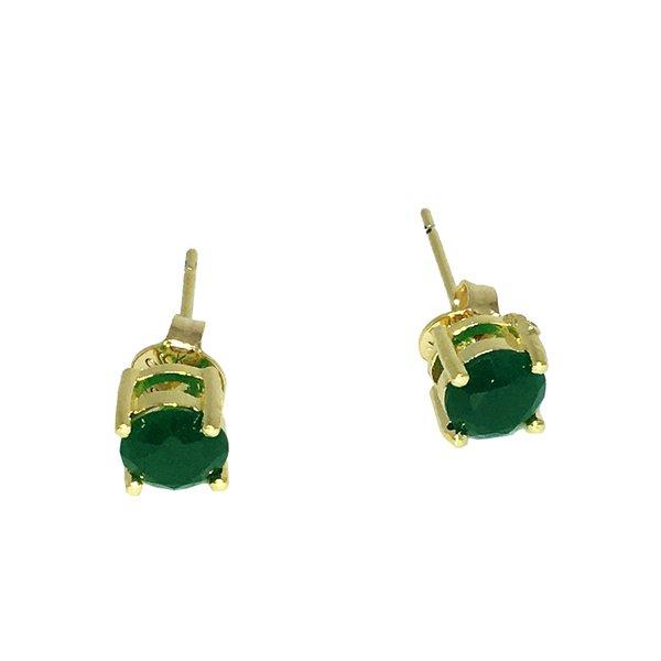 Brinco Ponto de Luz Semijoia Banho de Ouro 18k Zircônia Verde Esmeralda