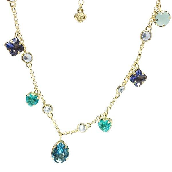 Colar Choker Semijoia Banho de Ouro 18 k Cristal e Zircônias Coloridas Gota Central