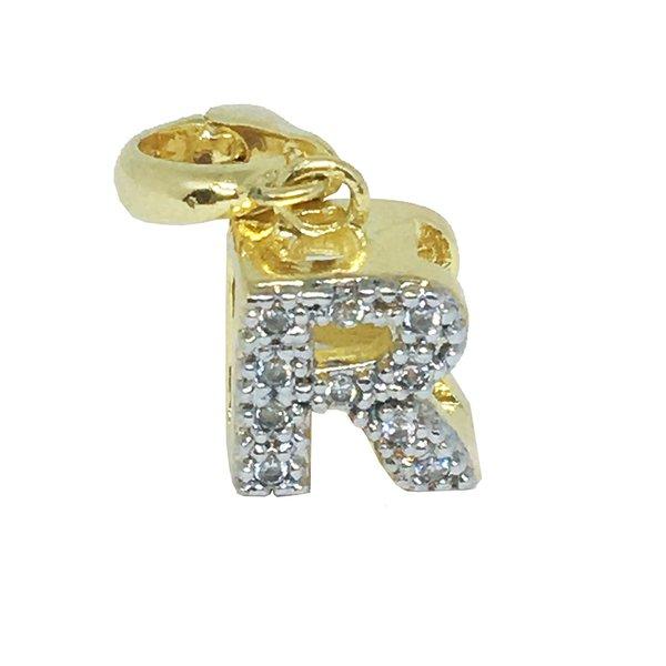 Pingente Letra R Alfabeto Semijoia Banho de Ouro 18k Zircônia Acabamento em Ródio