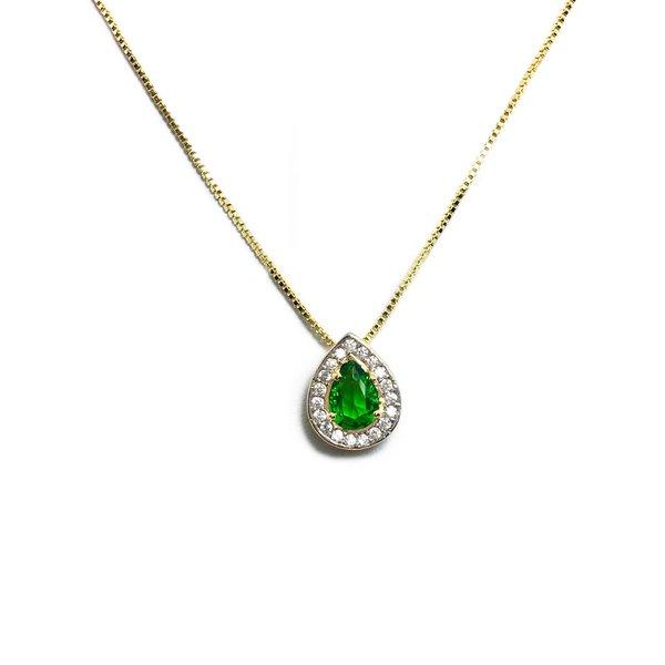 Pingente Gota Semijoia Banho de Ouro 18K Zircônia Verde Esmeralda ao Centro e Cravação de 38 Zircônias Incolor Detalhe em Ródio