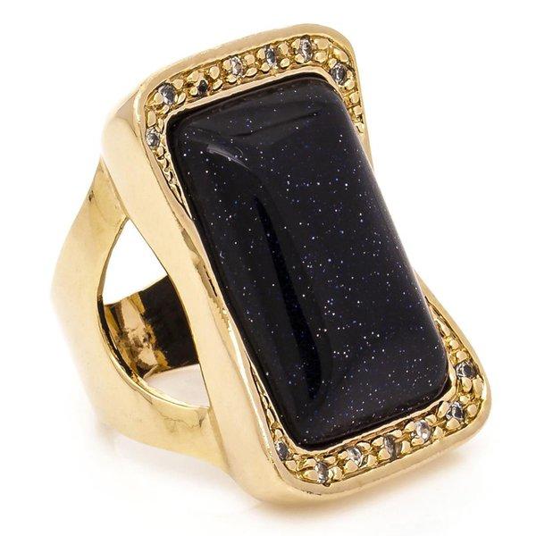Anel Retangular Semijoia Banho de Ouro 18K Pedra Natural Estrela e Cravação de Zircônia