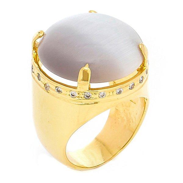 Anel Redondo Raquel Schiavon Semijoia Banho de Ouro 18k Pedra Cat Eye