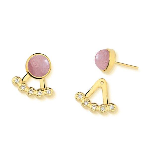 Brinco Ear Jacket Leque Semijoia Banho de Ouro 18K Pedra Natural Quartzo Rosa e Cravação de Zircônias