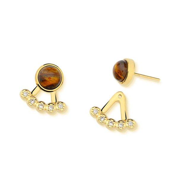 Brinco Ear Jacket Leque Semijoia Banho de Ouro 18K Pedra Natural Olho de Tigre e Cravação de Zircônias