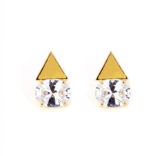 Brinco Triangular Semijoia Banho de Ouro 18K Zircônia