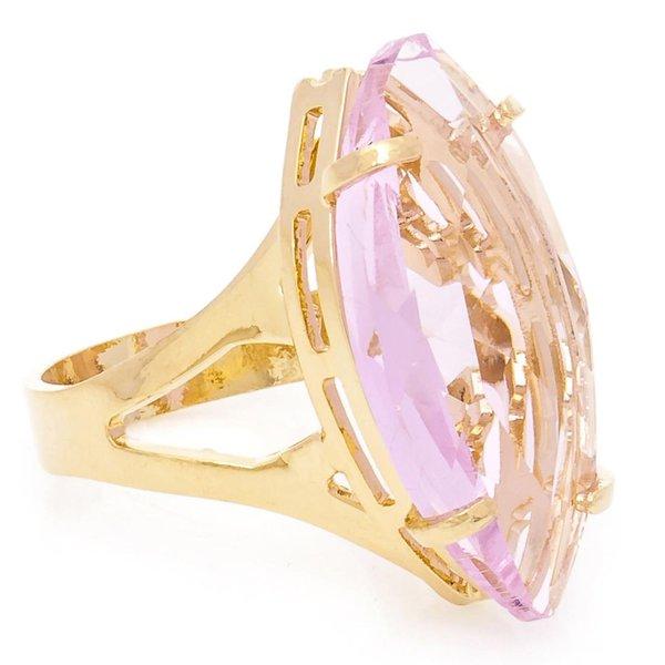 Anel Navete Semijoia Banho de Ouro 18K Cristal Rosa