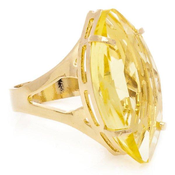 Anel Navete Semijoia Banho de Ouro 18K Cristal Amarelo