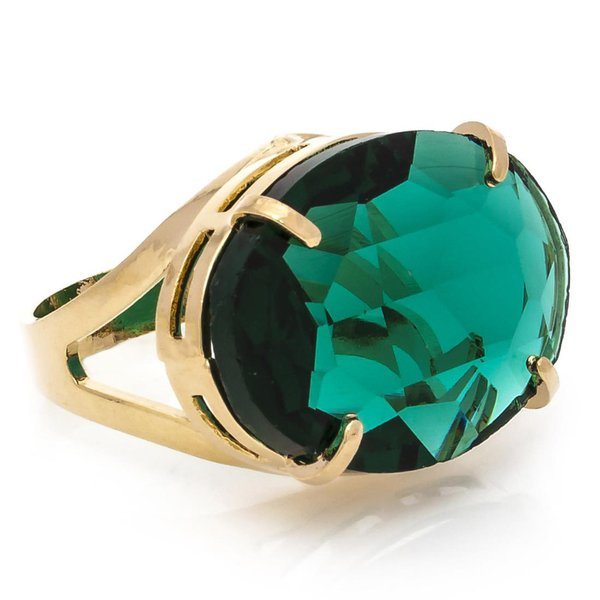 Anel Oval Cristallo Semijoia Banho de Ouro 18K Cristal Verde Esmeralda