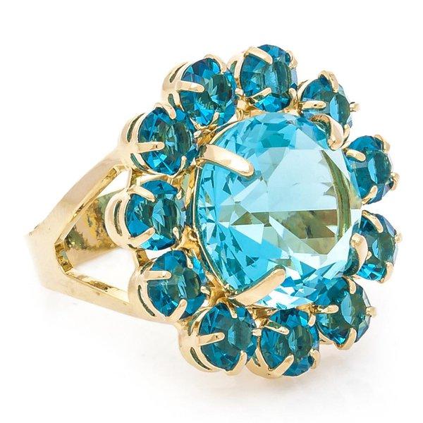 Anel Flor Semijoia Banho de Ouro 18k Cristal Azul