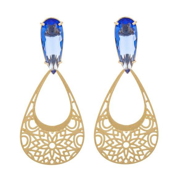 Brinco Oval Semijoia Banho de Ouro 18K Cristal Azul Safira