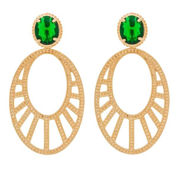 Brinco Oval Arabesco Vazado Semijoia Banho de Ouro 18K Cristal Verde Esmeralda