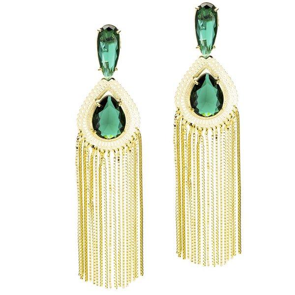 Brinco Gota Vazada e Franja Semijoia Banho de Ouro 18K Cristal Verde Esmeralda