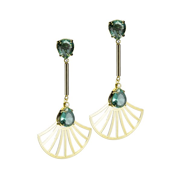 Brinco Haste Longa e Leque Arabesco Cristal Oval Semijoia Banho de Ouro 18K Cristal Verde Esmeralda