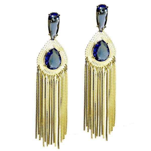 Brinco Gota Vazada e Franja Semijoia Banho de Ouro 18K Cristal Azul