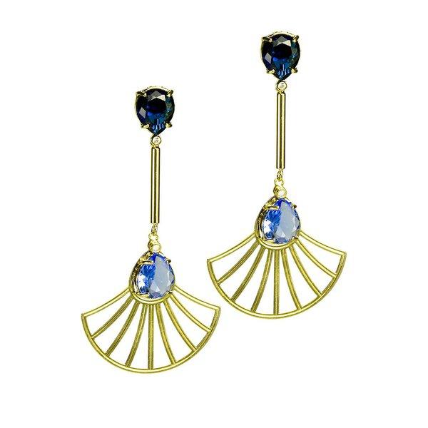 Brinco Haste Longa e Leque Arabesco Cristal Oval Semijoia Banho de Ouro 18K Cristal Azul
