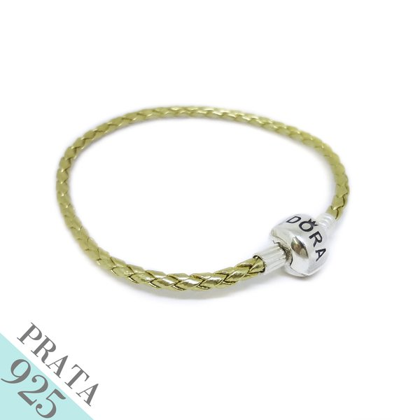 Pulseira Bracelte de Couro Trançado Prata 925 Dourado