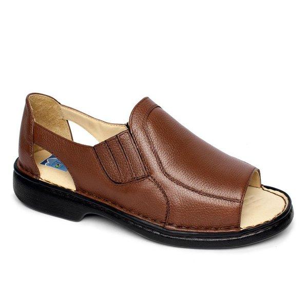 6727ba3d3 Sandália de Couro Masculina Fechada Tamanho Grande- Marrom | Pé Relax  Sapatos Confortáveis