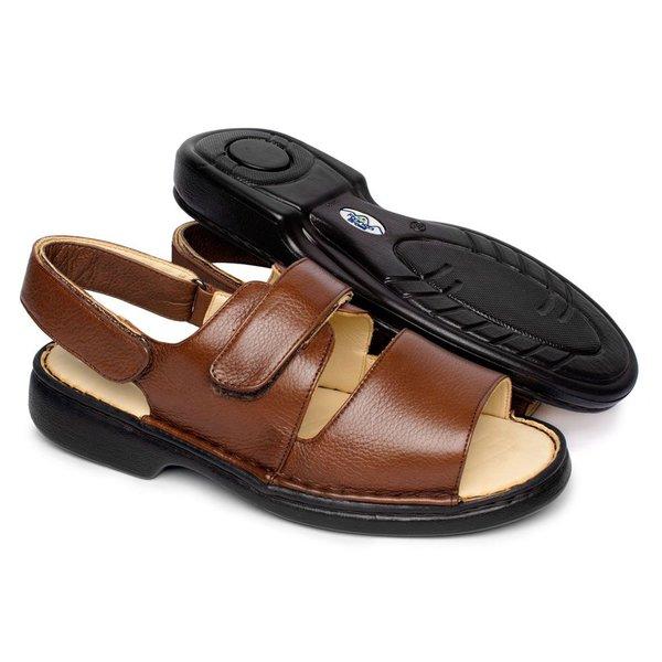 6a0c060d8 Sandália de Couro com Velcro Tamanho Grande - Marrom | Pé Relax Sapatos  Confortáveis