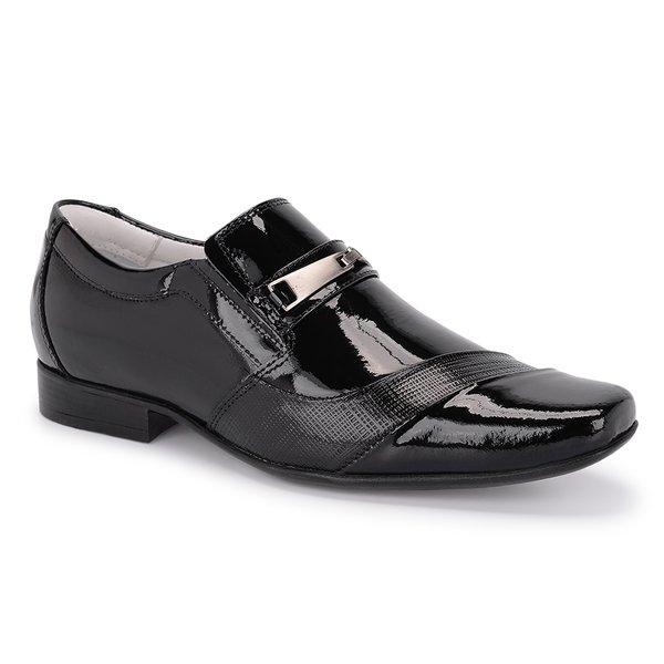 Sapato Social Tipo Italiano Em Couro Envernizado Preto Ref. 451-4203