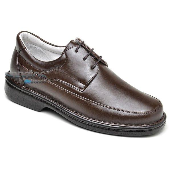 Sapato Conforto Em Couro Cor Café Ref. 320-580