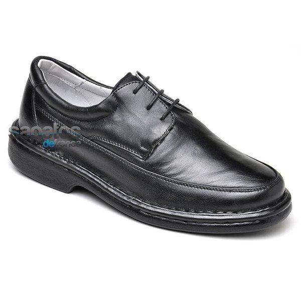 Sapato Conforto Em Couro Preto Ref. 319-580
