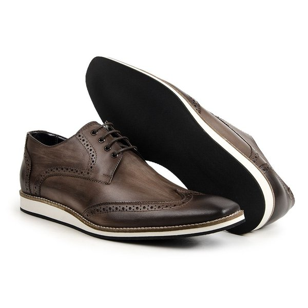 907b8dc8e9 Sapato Oxford Masculino Estonado Cor Café Ref.1416-516