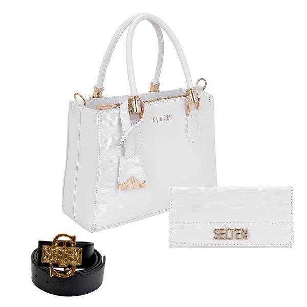 Bolsa Lorena + Carteira + Cinto Branca