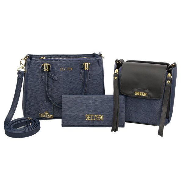 Kit Bolsa Transversal + Bolsa Tiracolo + Carteira Azul Escuro