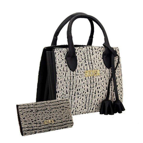 Bolsa + Carteira Selten Handbag Sanfonada Feminina Creme