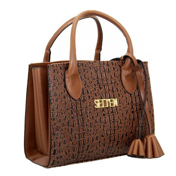Bolsa Selten Handbag Sanfonada Feminina Marrom