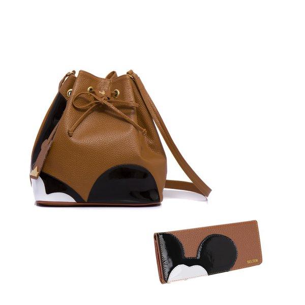 Bolsa Mickey Saco + Carteira Marrom