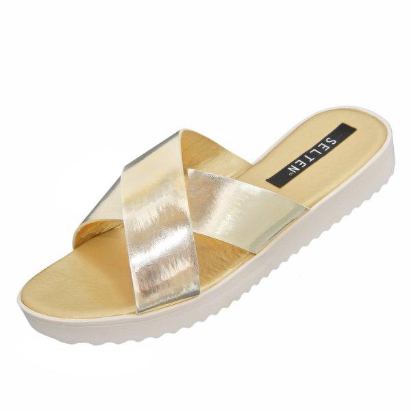 Sandália Chinela Feminina Ouro Ligth 102