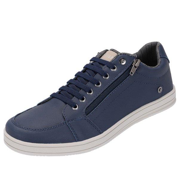 Sapato Casual Masculino Azul Marinho com Zíper Lateral