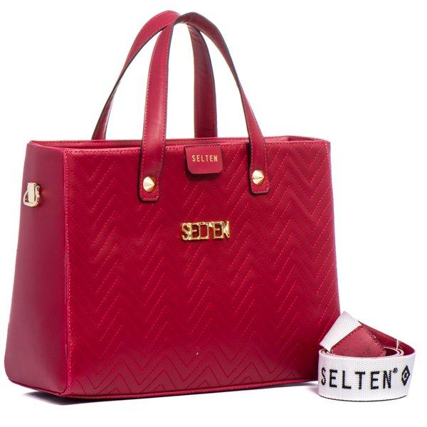 412b5720f Bolsa Feminina Selten de Mão com Alça Transversal Vermelho ...