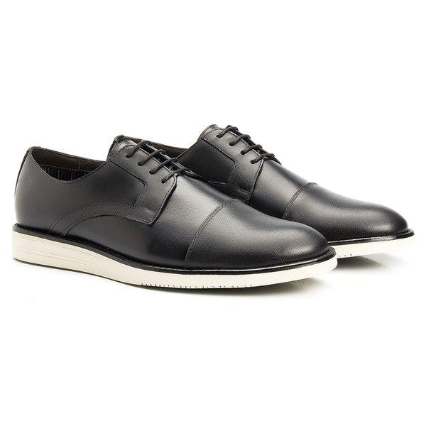 Sapato Masculino Derby Cap Toe Preto Casual em Couro Legítimo