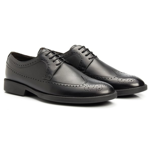 Sapato Masculino Social Derby Brogue Preto em Couro Legítimo