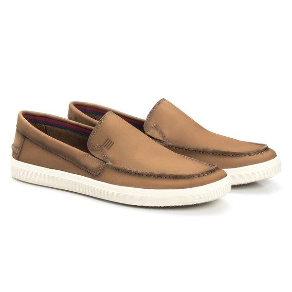 Sapato Masculino Mocassim Casual Cimento em Couro Legítimo