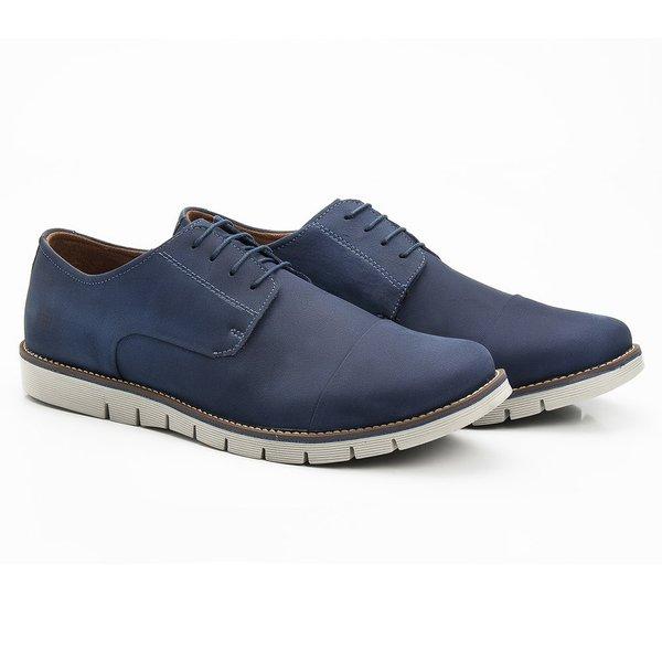 Sapato Masculino Casual Derby Azul em Couro Legítimo