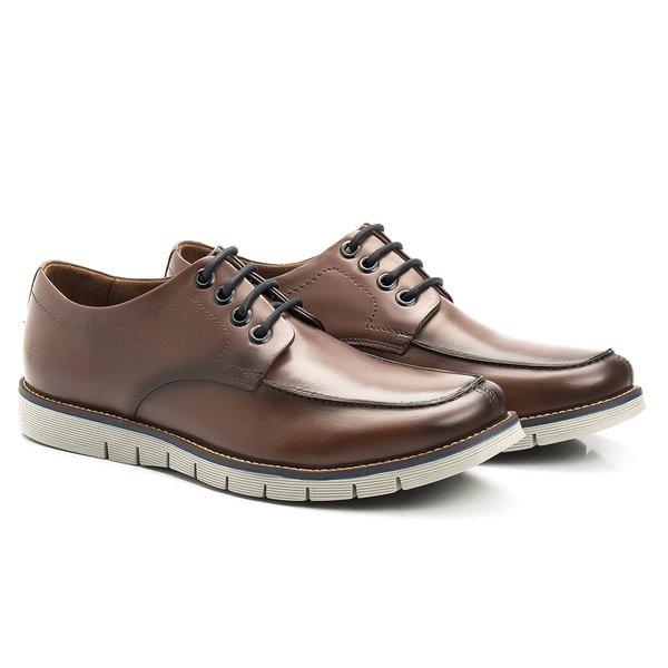 Sapato Masculino Casual Derby Café em Couro Legítimo