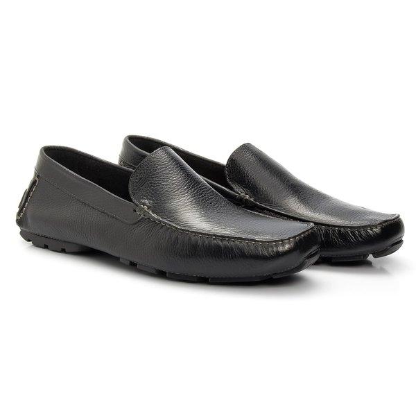 Sapato Masculino Casual Driver Preto em Couro Legítimo