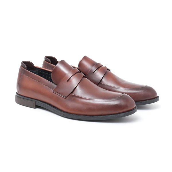 Sapato Masculino Penny Loafer Conhaque em Couro Legítimo