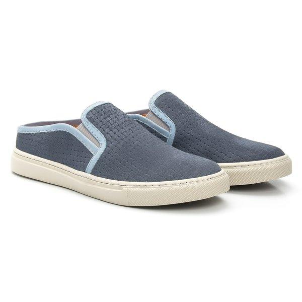 Sapato Masculino Mule Azul Jeans de Couro Legítimo