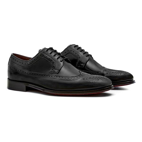 Sapato Masculino Social Derby Brogue Preto em Couro